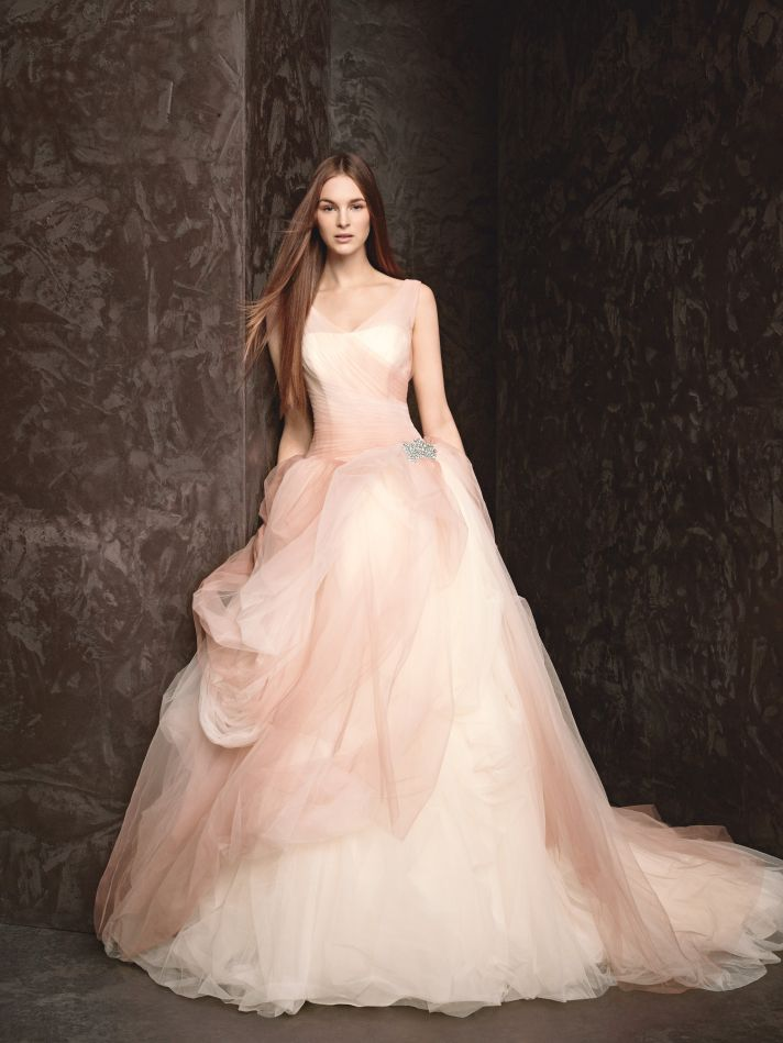 Pink the new white a pretty ombre tulle ball gown by for White vera wang wedding dresses